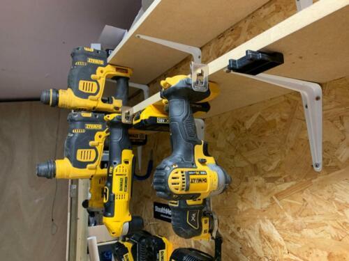 4x YELLOW TOOL MOUNTS for DEWALT 18v XR Storage Holder Shelf Rack Stand Slots