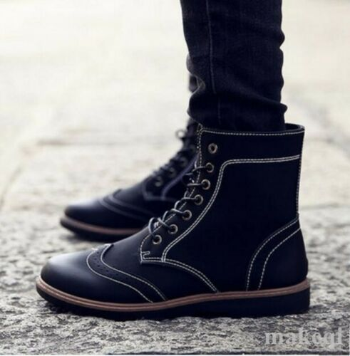 New Mens Round Toe Brogue Low Heel Ankle Boots Lace Up Booties Shoes Low Heel