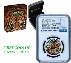 2016-P-Tuvalu-PROOF-COLORIZED-Silver-The-Tiger-Cubs-NGC-PF70-1-2-oz-Coin-w-OGP