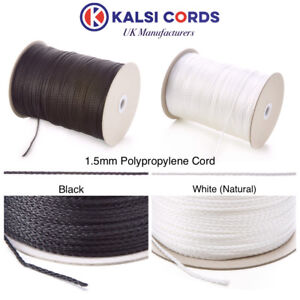 1.5MM THIN POLYPROPYLENE ROPE BRAIDED POLY CORD STRONG STRING IN BLACK & WHITE