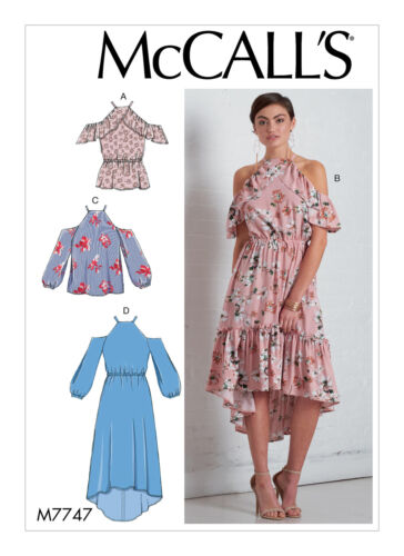 McCALL/'S SEWING PATTERN MISSES/' EASY TOPS AND DRESSES SIZE 6-22 M7747//MP677