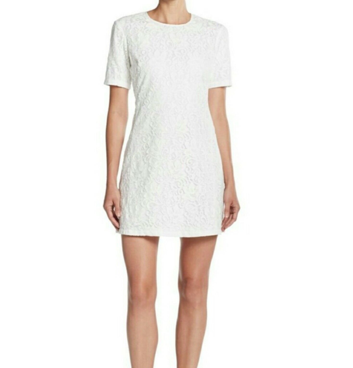 Theory Dananline LC Lace Short Sleeve Dress 6 (Cream Ivory)