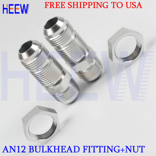 STRAIGHT MALE AN12 12AN TO AN12 ALLOY BULKHEAD FLARE FITTING ADAPTOR+NUT WITH 2P