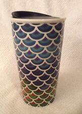 Starbucks Mermaid Scales Multi Color Double Wall Ceramic Tumbler Mug New HTF