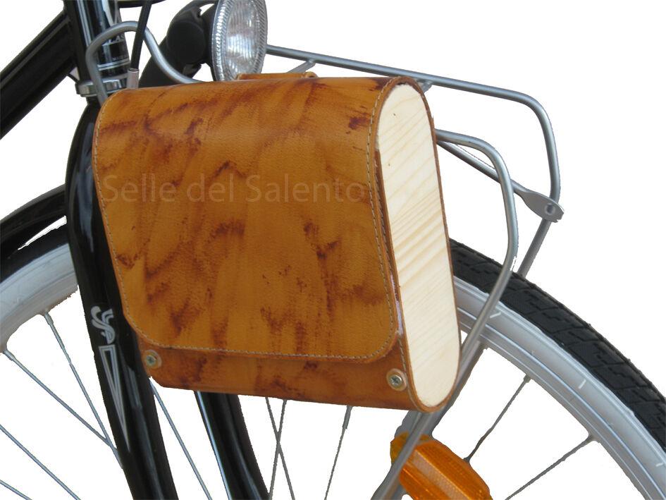 Borsa laterale in cuoio è legno bici Bisaccia bicicletta retrò vintage citybike