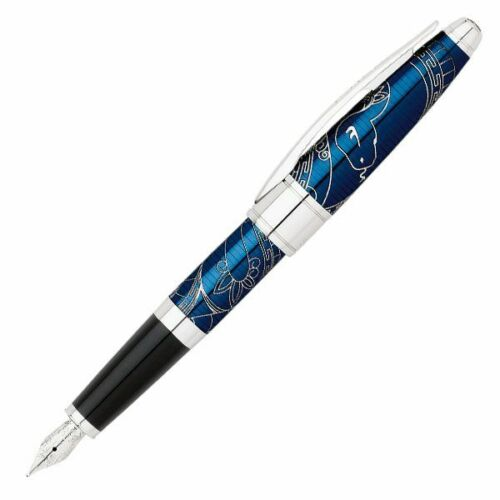 Cross-Special-Edition-Year-of-the-Snake-Prosperity-Blue-Medium-Fountain-Pen-NEW