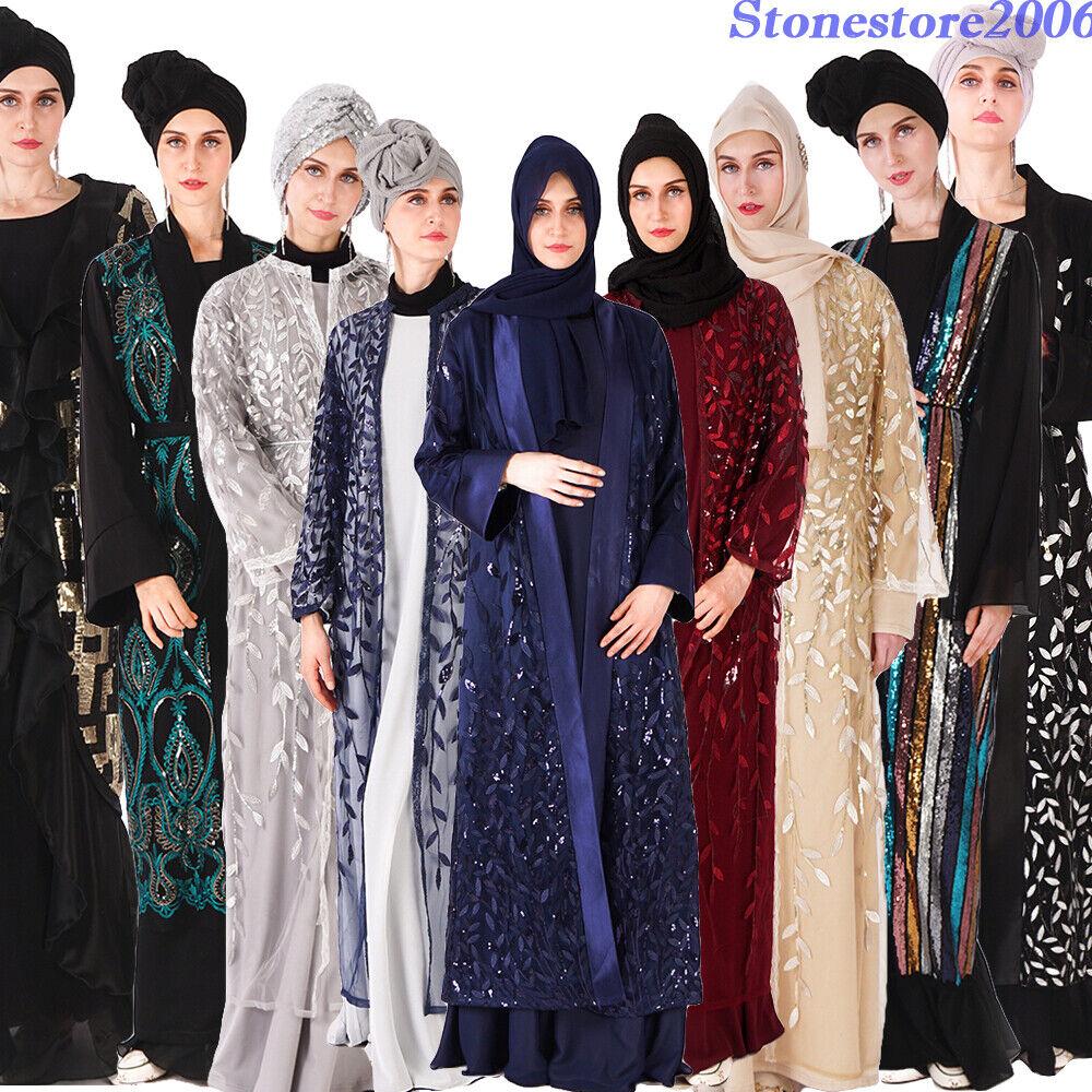 Sequin Long Cardigan Abaya Women Open Kaftan Muslim Jilbab Islamic Dress Ramadan