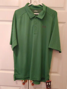 New-Men-Under-Armour-Green-All-Season-Gear-Collared-Golf-Shirt-Size-XL