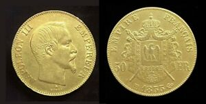 COPIE-Piece-plaquee-OR-GOLD-Plated-50-Francs-Napoleon-III-Tete-Nue-1855-BB
