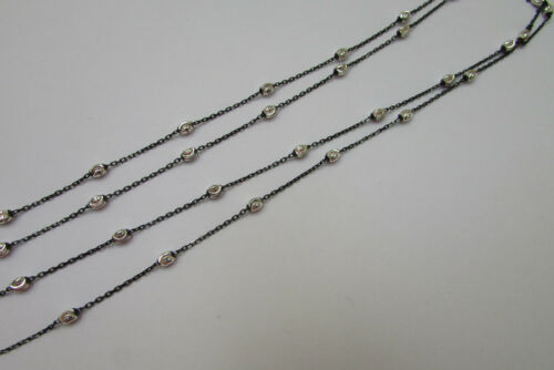 Sterling Silver Bulk Cable Chain Satellite Ruthenium on 925 Graduated Necklace