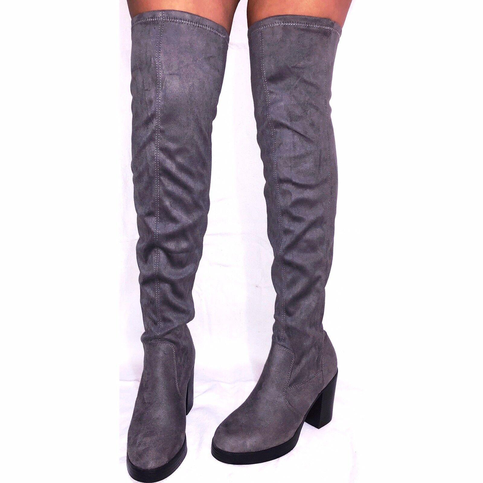 NEW LOOK Ladies Womens Grey Suede Kneehigh Platform Winter Heels Boots - Size 4