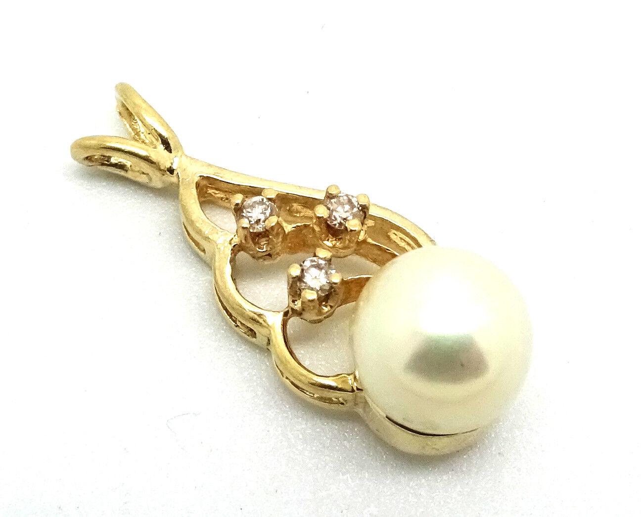 14K Yellow gold 7 mm Pearl & .05 CTW Diamond Pendant 1.7 Grams