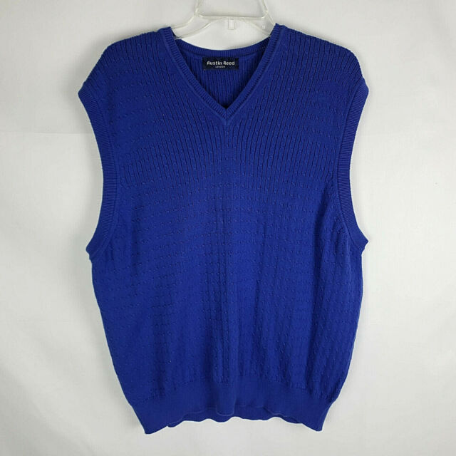 Austin Reed London New Men S L Blue Cotton Cable Knit Sweater Vest Ac Ebay
