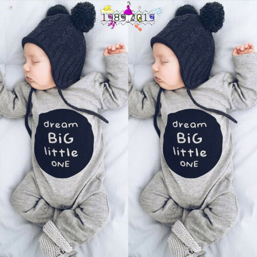 Recién Nacido Infantil Bebé Niño Niña Algodón Suave Letra Traje una Pieza Ropa