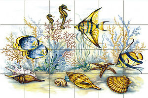 36 x 24 Art Under the Sea  Ceramic Mural Backsplash Bath Tile