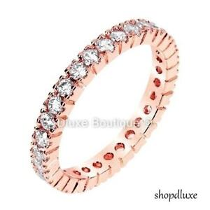 WOMEN-039-S-ROUND-CUT-CZ-ROSE-GOLD-STERLING-SILVER-ETERNITY-WEDDING-RING-SIZE-4-10
