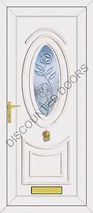 Jefferson One Climbing Rose Panel Glazed UPVC Front Door, Frame & Letterbox
