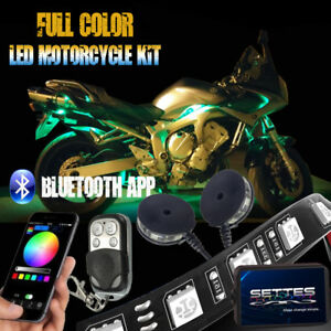 Details about 12PCS Bluetooth APP LED Neon Under Glow Lights Strip Kit For  All Motorcycles 12V