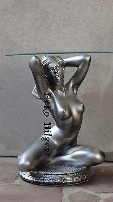 Tisch Frau Akt Glas Couchtisch Beistelltisch Dekoration Figur Skulptur Silber Go | eBay