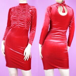 VINTAGE-90s-Red-Velvet-Ruched-Cocktail-Bodycon-Stretch-Wiggle-Mini-Dress-XS-6-8