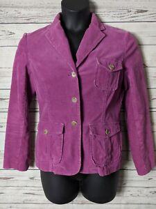 1b85077a Lands' End Women's Sz 8 Corduroy Purple Coat 3 Button Jacket Blazer ...