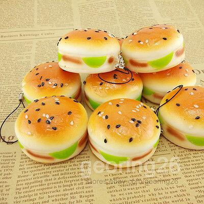 5CM Sesame Squishy Hamburger Phone Straps Bread Scent Soft Bun Charms Key Chain