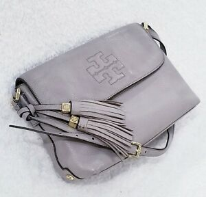 Tory-Burch-Thea-Messenger-In-89-Almost-perfect-Condition-Gray-Leather-Bag