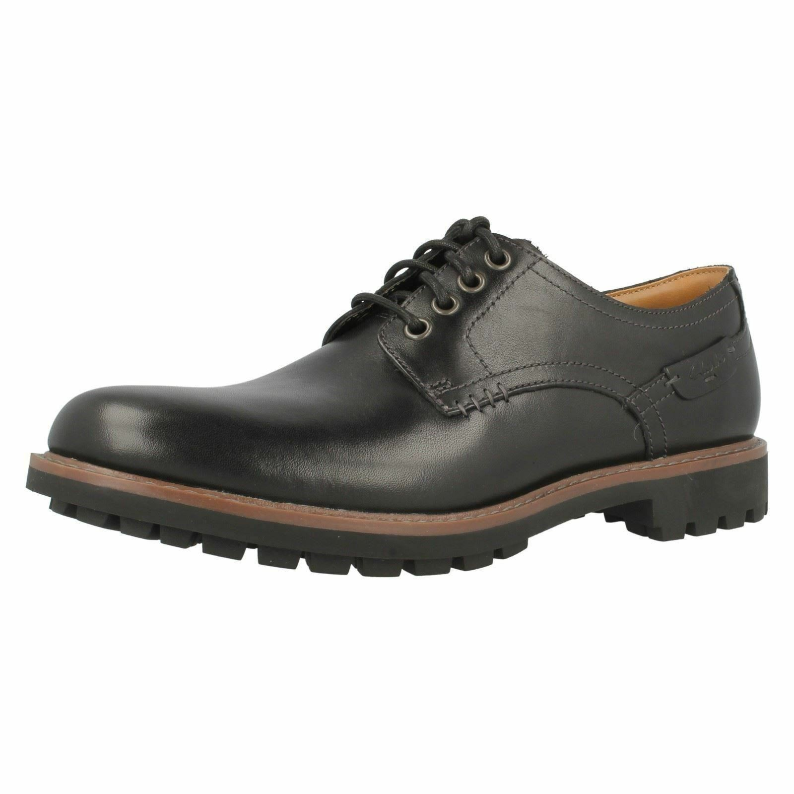 Mens Clarks Montacute Hall Black Leather Casual Lace Up Derby shoes