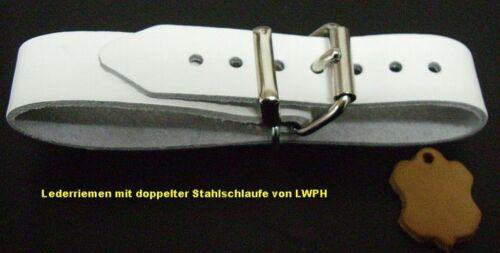 4 Lederriemen weiß 25,0 x3,0 cm doppelter Metallschlaufe Nostalgie Kinderwagen