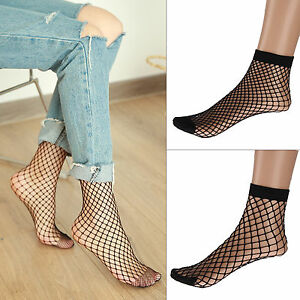 7f719543a49ae 2 Pairs Women Fishnet Ankle High Socks Mesh Lace Anklet Fish Net ...