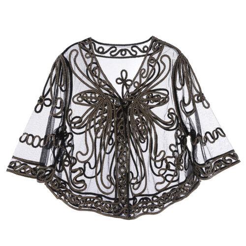 Women Ladies Lace Sheer Chiffon Dance Bolero Cropped Shrug Top Cardigan Cover Up