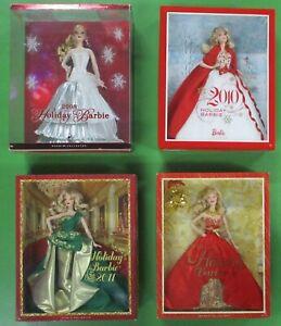 Barbie-Doll-Lot-of-4-Happy-Holidays-2008-2010-2011-2014-NIB-Mattel