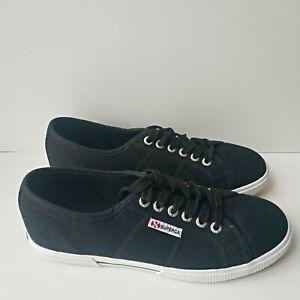 Superga-2950-Cotu-Femmes-Toile-Lacets-Noir-Low-Top-Chaussures-Baskets-UK-5-5-New