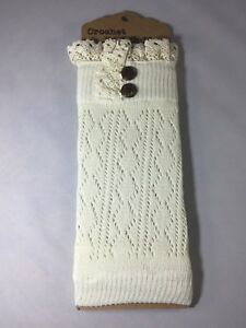 TX LOCAL Womens Crochet Knit Knitted Lace Leg Warmers Cuffs Toppers Boot Socks