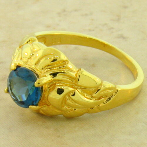 GENUINE LONDON BLUE TOPAZ 24K GOLD /& 925 STERLING SILVER ART NOUVEAU RING #1035