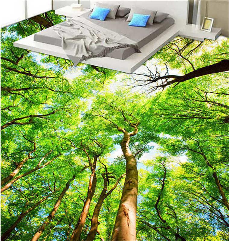 Vigorous Big Trees 3D Floor Mural Photo Flooring Wallpaper Home Print Decoration