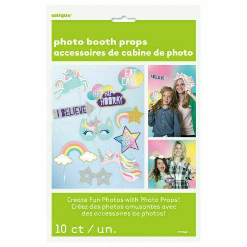 10 pièces Licorne étoiles Photo Booth Props Filles Fête D/'Anniversaire Selfie Accessoires