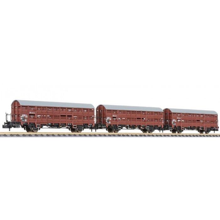 Liliput n 260134 verschlagwagen-set hbes - 63 vlmms, 3 piezas, DB, época mercancía nueva
