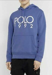 Polo-Ralph-Lauren-Men-039-s-SZ-S-Fleece-Graphic-1992-Montauk-Hoodie-Blue-White
