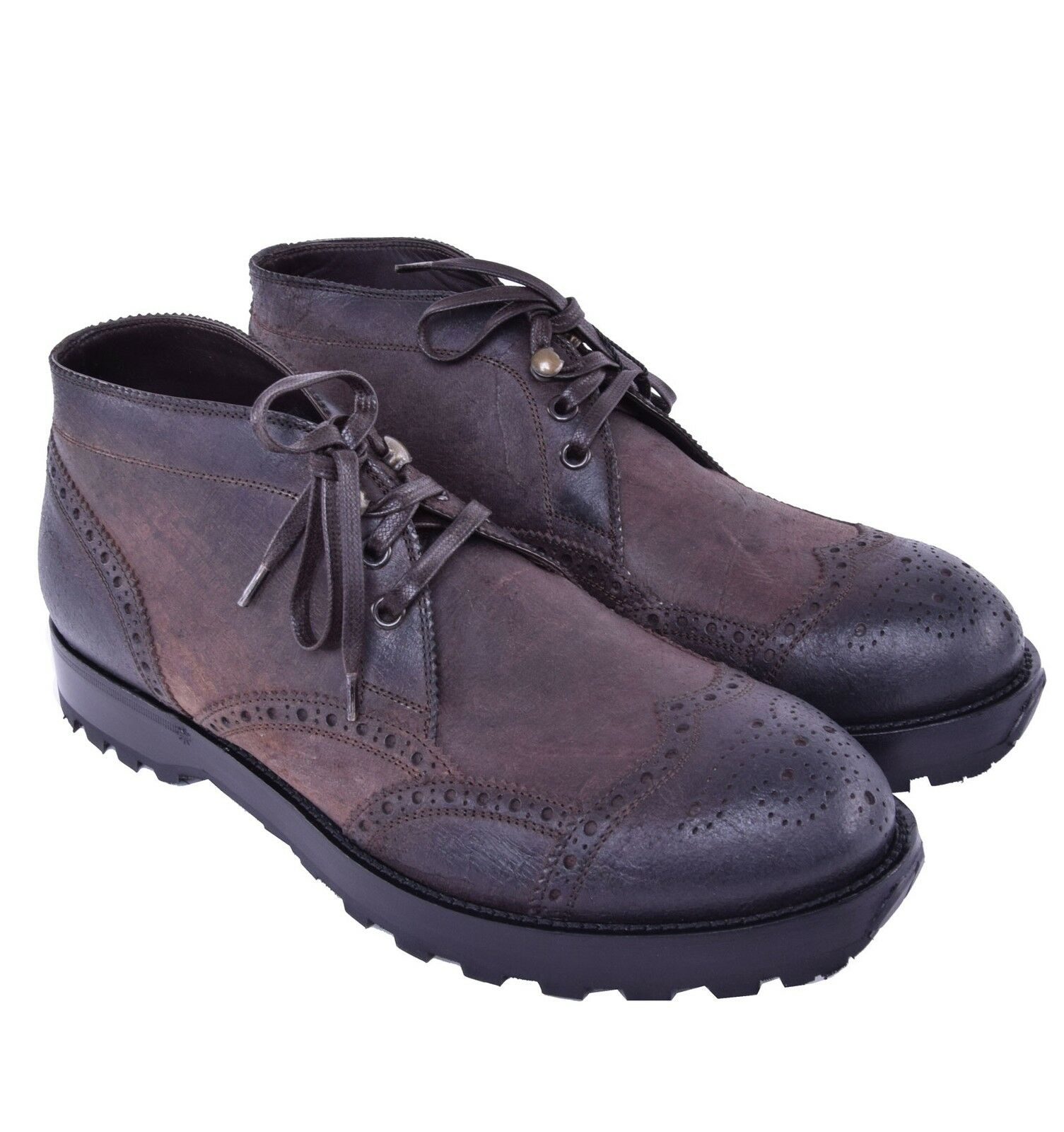 DOLCE & GABBANA Solid Waxed Leather Boots Shoes Brown 03847