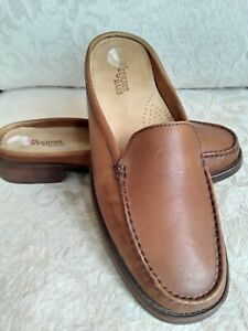 Bass Weejuns Sz 8.5 39 Helen Brown Leather Low-Back Loafers Slides Classic Mules