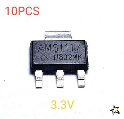 10Pcs AMS1117-3.3 LM1117 3.3V 1A SOT-223 Voltage Regulator *#