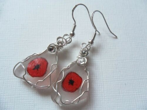 Poppy flower dangle earrings hand painted english sea glass silver ear wires