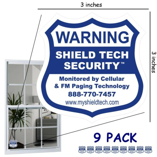 9 BACK ADHESIVE WINDOW or DOOR DECAL WARNING STICKER ALARM SECURITY SYSTEM PK B