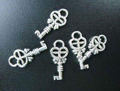 60pcs Tibetan Silver Cross Heart Key Drops R75