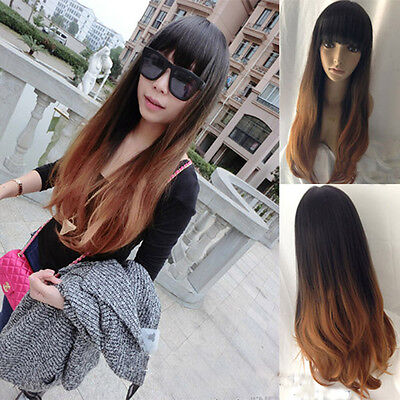 New Fashion Women Long Curly Wavy Hair Full Wigs Cosplay Party Wig Brown+Flaxen