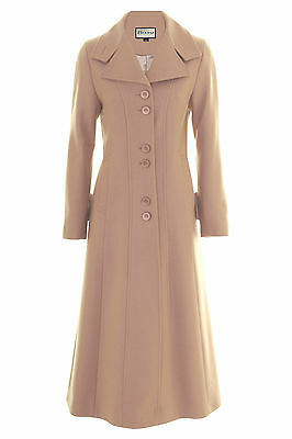 Busy Womens Pink Beige Wool Blend Long Coat