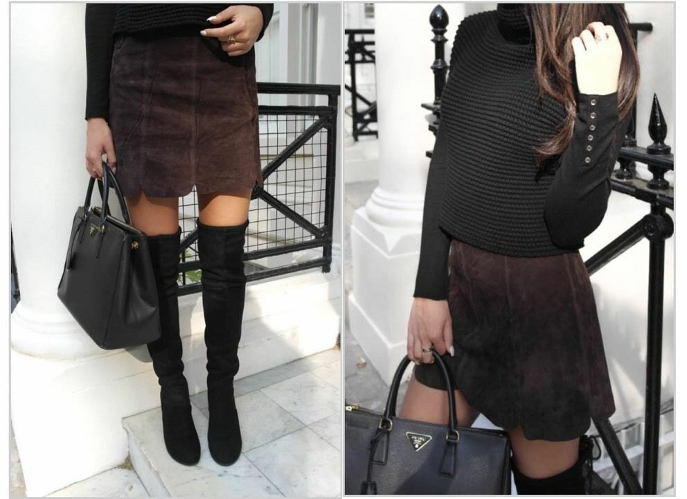 ZARA Chocolate Brown Suede Leather Seamed Mini Skirt  S BNWT  BLOGGERS