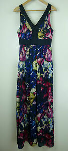 BASQUE-Sz-10-Maxi-dress-Blue-pink-black-print