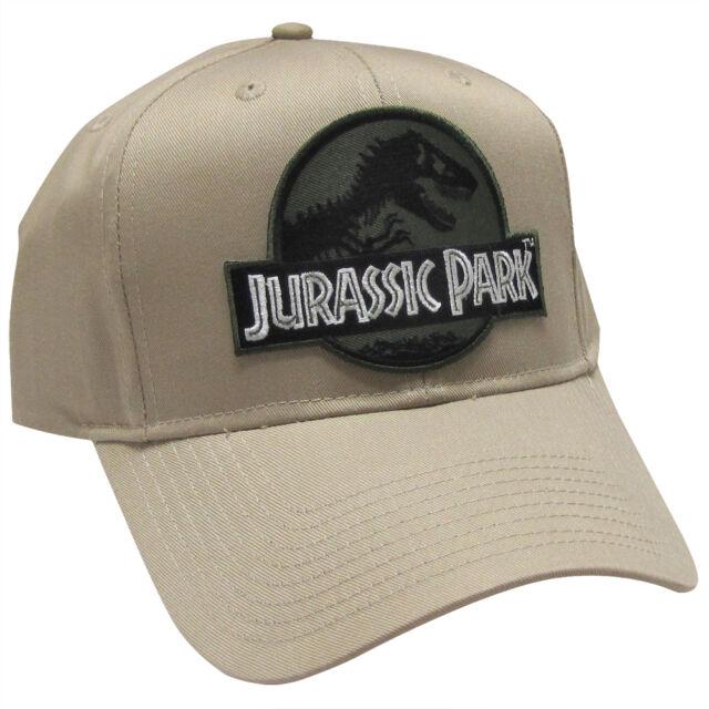 Jurassic Park Movie Logo Forest Green Sci fi Patch Khaki Snapback Cap Hat eab34810cbc